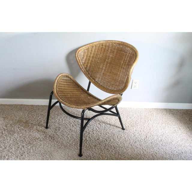 """Italian Salterini Style Whicker """"Orbit"""" Shell Chair For Sale - Image 3 of 10"""