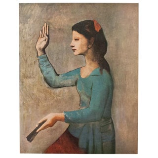 Picasso Woman With a Fan, Vintage Lithograph, C.1950s For Sale