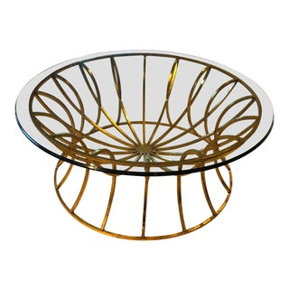 Robert Allen Satellite Gold Leaf with Glass Top Cocktail Table For Sale