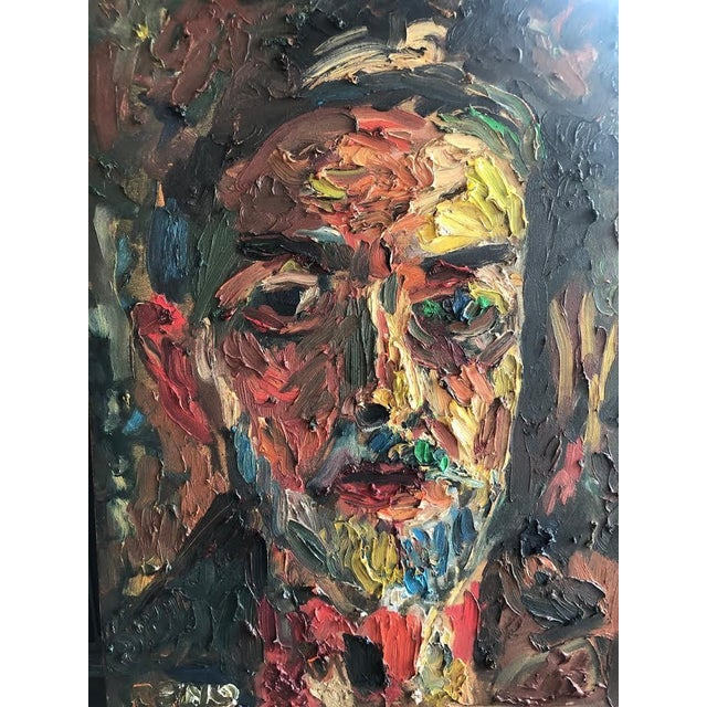 This is a colorful self portrait by Pacific Northwest artist Joe Reno. Wonderfully thick paint application and brush...