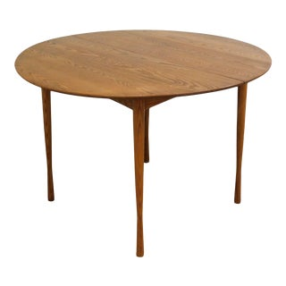 Heywood Wakefield Danish Modern Style Round Teak Dining Table with 3 Leaves For Sale