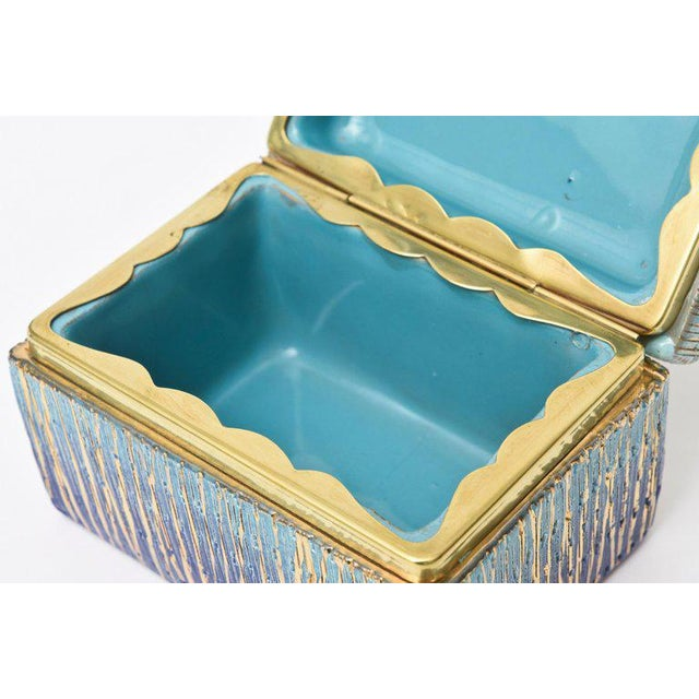 1960s Italian Mid-Century Modern Bitossi Glazed Ceramic, Gold and Brass Hinged Box For Sale - Image 5 of 11