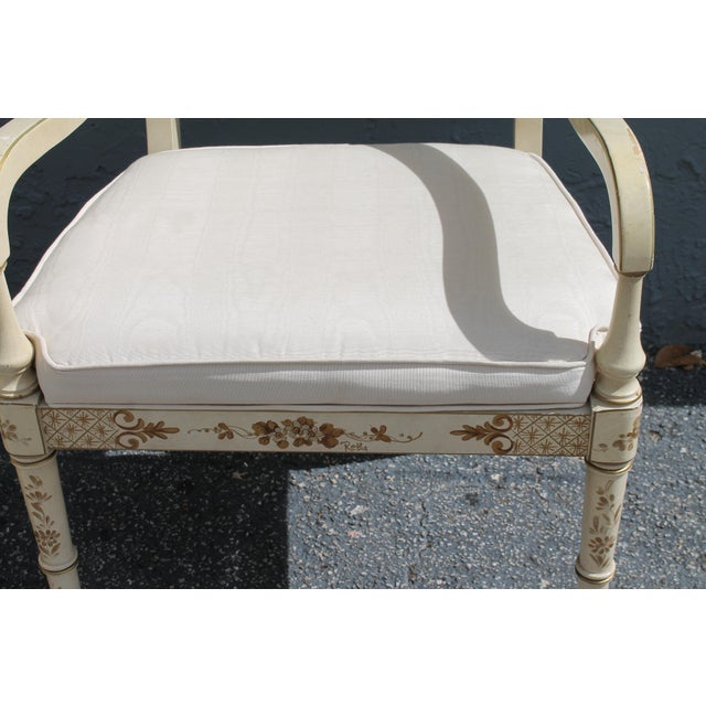 Vintage Mid Century Taffeta Faux Bamboo Caned Armchairs- A Pair For Sale - Image 10 of 13