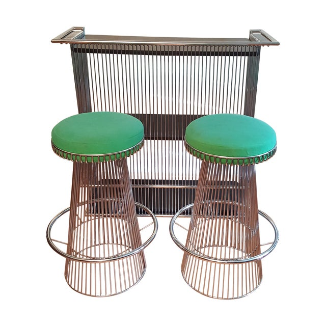 Mid-Century Platner Style Bar Stools & Table Set - Image 1 of 11