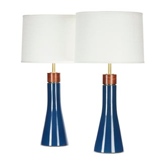 Bauer Lamp in Niagara Glaze With Sapele Cap - a Pair For Sale