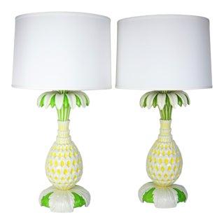 Italian Ceramic Pineapple Table Lamps, Pair