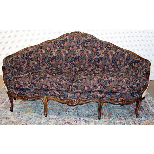 Louis XV Style Carved Walnut Tapestry Sofa For Sale - Image 13 of 13
