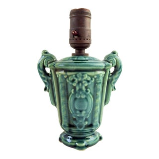 Small Teal Glazed Ceramic Table Lamp For Sale