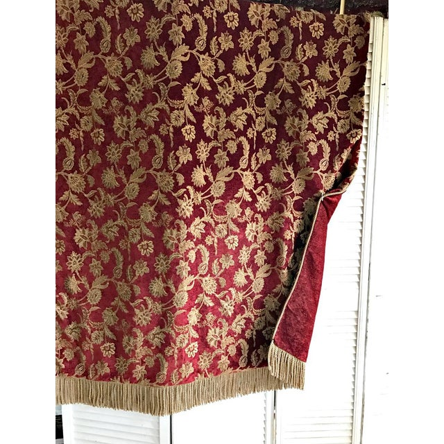 Velvet Floral Red and Gold Throw - Image 3 of 8