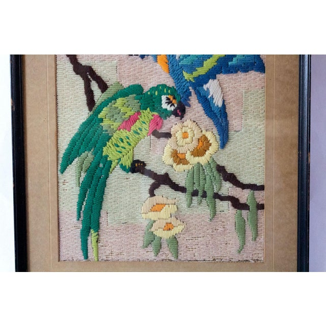 1930s Vintage Tropical Parrot Crewel Work Framed Textile Art For Sale - Image 4 of 8