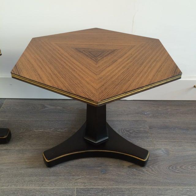 Henredon Hexagonal Walut Side Tables - A Pair - Image 5 of 11