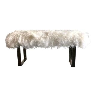 Milo Baughman Style Mongolian Sheepskin and Chrome Bench For Sale