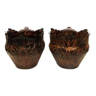 1980s Vintage Metal Fluted Planters - a Pair For Sale