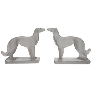 Art Deco Crystal Wolfhound Dog Bookends, a Pair For Sale