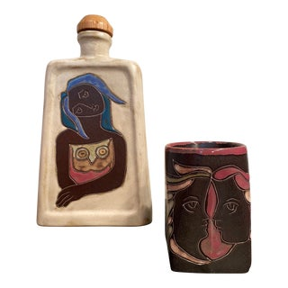 Original Signed Mara Stoneware Decanter & Mug - Set of 2 For Sale