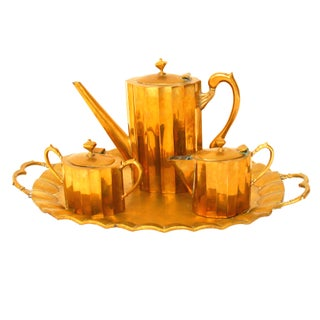 Art Deco Brass Tea Set with Tray