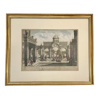 French 18th C Etching of Architectural Scene With Watercolor Details. For Sale