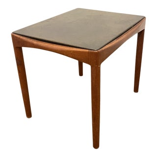 Willy Beck Danish Modern Leather Top Side Table For Sale