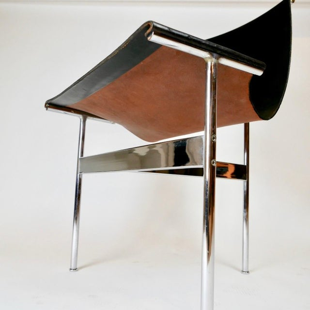 """Set of 6 1952 Katavolos Kelley & Littell for Laverne """"T"""" Chairs in Black Leather For Sale - Image 12 of 13"""