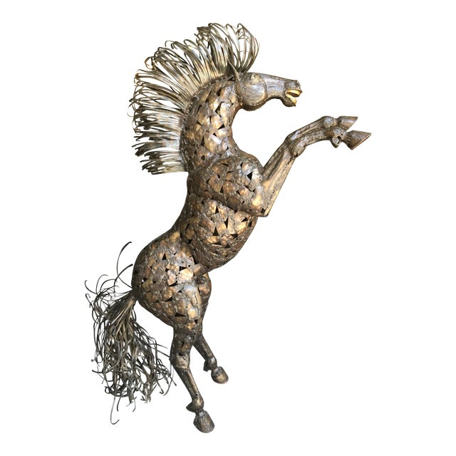 Vintage Bucking Horse Metal Sculpture - Image 1 of 11