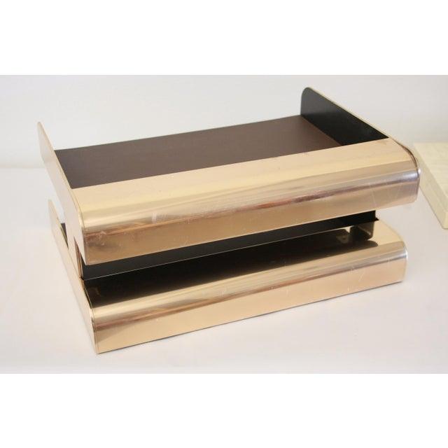 Gold William Sklaroff Radius Two Brass Desk Tray For Sale - Image 8 of 11