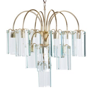 Waterfall Beveled Glass and Brass Chandelier For Sale