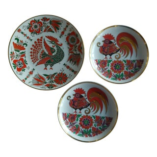 Russian Imperial Lomonosov Porcelain Plates Red Rooster - Set of 3 For Sale