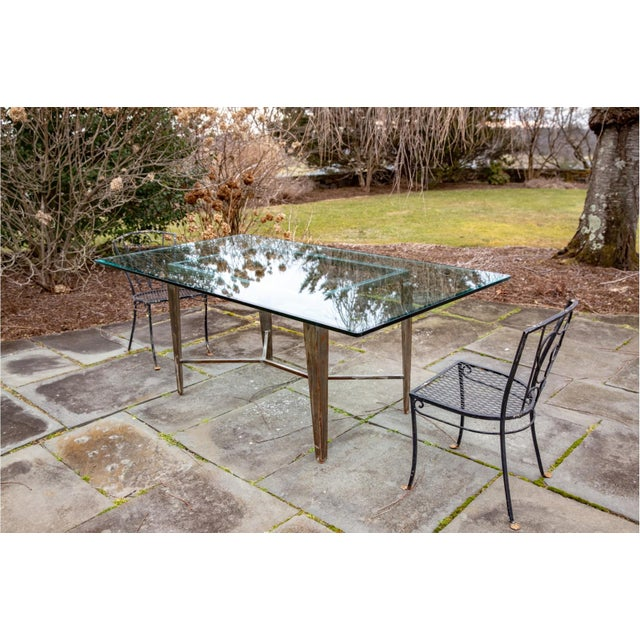 Vintage Glass Top and Steel Rectangular Dining Table For Sale In New York - Image 6 of 12