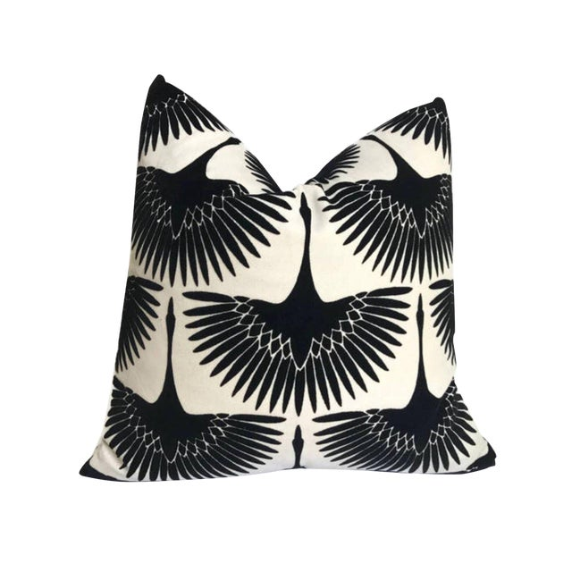 Onyx Black Flock Velvet Pillow Cover For Sale