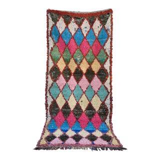 1970s Vintage Boucherouite Moroccan Wool Rug - 3′3″ × 7′1″