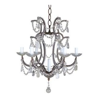 (7) Light Italian Crystal Beaded Chandelier C. 1930's For Sale
