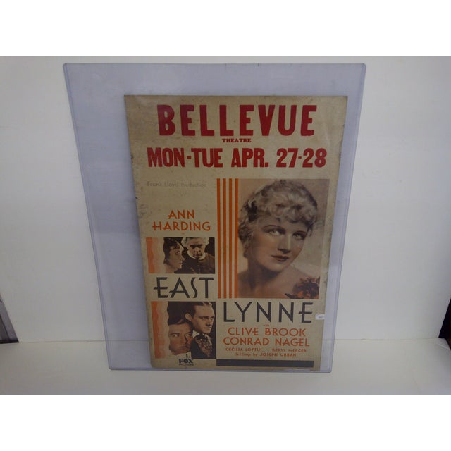 """Bellvue Theatre Poster. Anne Harding in """"East Lynne"""" with Clive Brook / Conrad Nagel circa 1931. Frank Lloyd Production,..."""