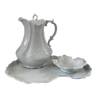 20th Century Traditional Porcelain Tea Pot With Tray and Sugar Bowl - 3 Pieces For Sale