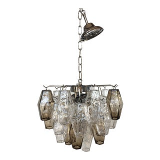 "Italian ""Poliedro"" Transparent Fume' Chrome Metal Frame Murano Glass Chandelier For Sale"