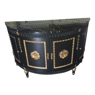 Traditional Casa Stradivari Black Painted Demilune Chest With Gold Leaf Accents For Sale