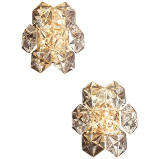 Pair of Faceted Crystal Sconces by Kinkeldey For Sale