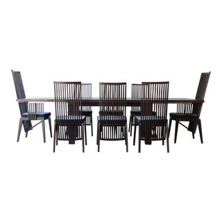 Frank Lloyd Wright Style Arts & Crafts Dining Set by A. Sibau, Italy