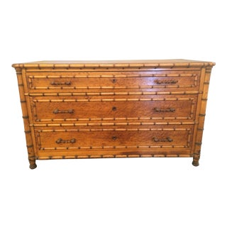 19th Century English Burled Walnut Faux Bamboo 3 Drawer Chest