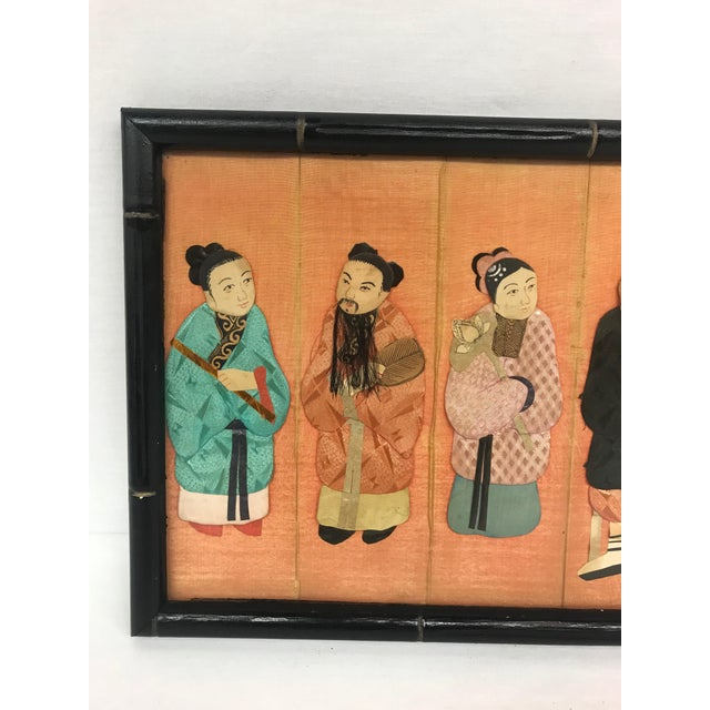 Asian 19th Century Framed Chinoiserie Figures For Sale - Image 3 of 12