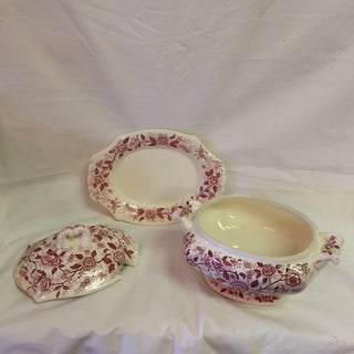 Antique English Rose Transferware Tureen With Underplate - 3 Piece Set Preview