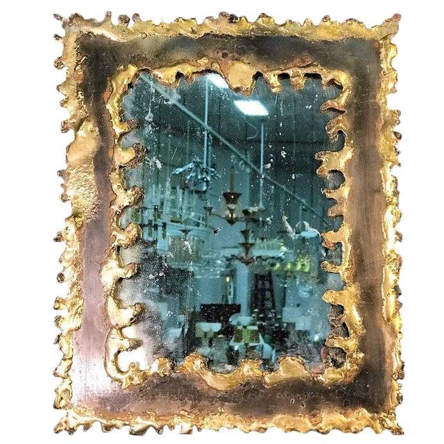 Brutalist Torch Cut Framed Rectangular Mirror For Sale