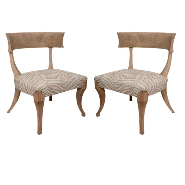 Pair of Sun-Bleached Klismos Chairs - Image 1 of 8