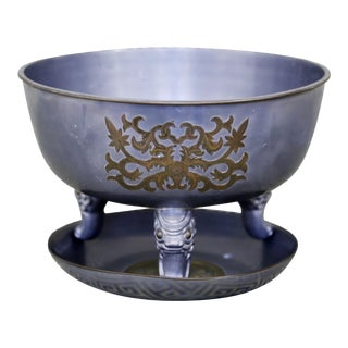 Chinoiserie Pewter Bowl & Plate - A Pair For Sale