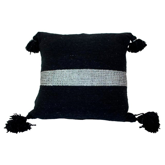 Moroccan Silver on Black Pom Pom Pillow - Image 1 of 4