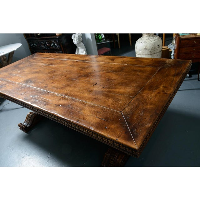 French Antique Hand Carved Oak Wood Trestle Library Table For Sale In West Palm - Image 6 of 12