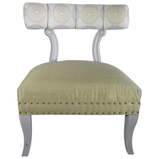 Jeff Zimmerman Collection French Deco Silk Nail Head Chair For Sale