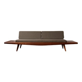 Restored Mid Century Modern Walnut Sofa With Custom Built End Tables For Sale