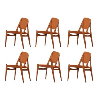 Solid Teak Swivel Back Danish Modern Arne Vodder Ella Dining Chairs New Fabric For Sale