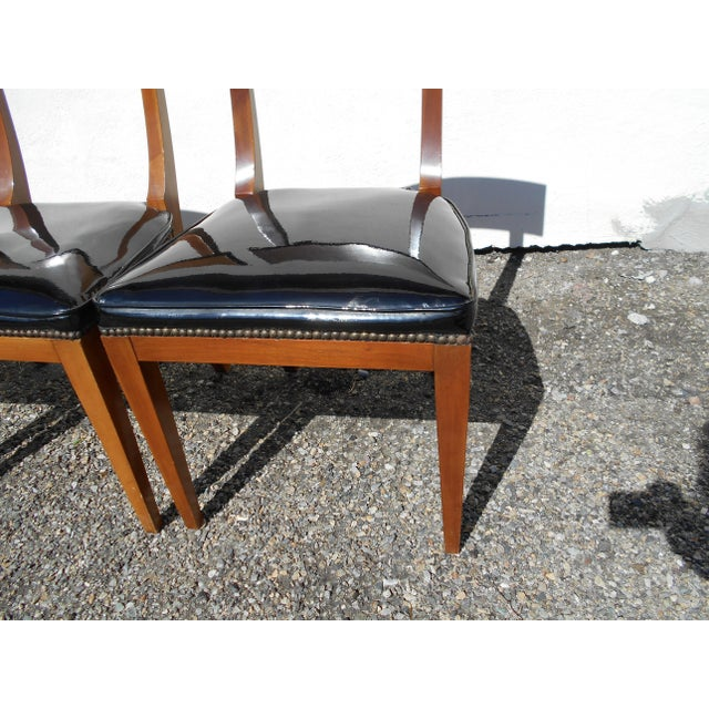Mid-Century Patent Leather Dining Chairs - Set of 6 - Image 10 of 11