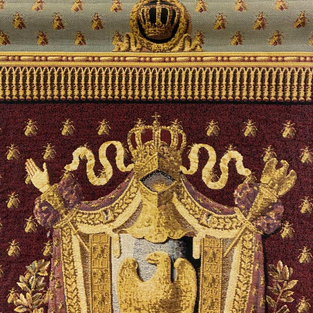 Traditional Large Tapestry Coat of Arms With Golden Eagle For Sale - Image 3 of 6